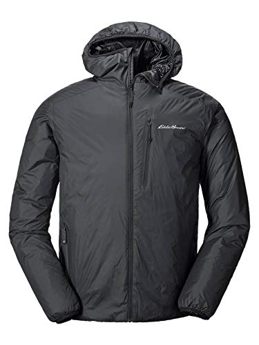 Eddie Bauer Men's EverTherm Down Hooded Jacket, Black Regular L