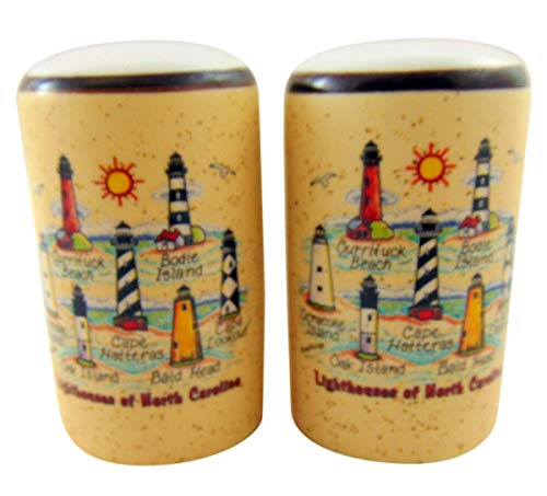 North Carolina Lighthouses Salt and Pepper Shakers Set Hand Painted Ceramic State Souvenir