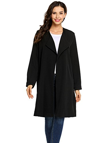 Waterfall Solid Meaneor Black Long Sleeve Coat Side Front Long Split Women's Open Trench naU4A