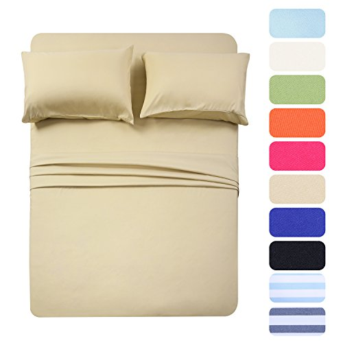 BestSeason Full Size Camel Bed Sheets - Super Soft Luxury Hotel Deep Pocket Bedding Fits Pillow Top - Stain, Fade & Wrinkle Resistant- 4 Piece Set