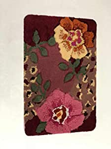 Unique Hand-Carving Flower Pattern Acrylic 78 X 48 CM Anti skid Pink Floral Door Mat
