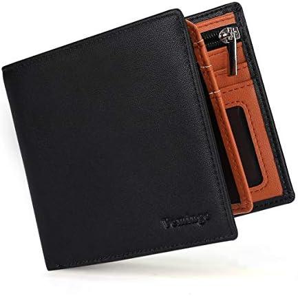 Vemingo Carteras de Hombre con Bolsillo de Moneda/Monedero con RFID Bloqueo para Tarjetas de Crédito Portamonedas Ligeros para Hombre/Adolescente (Xb-037 Negro y Marrón): Amazon.es: Equipaje