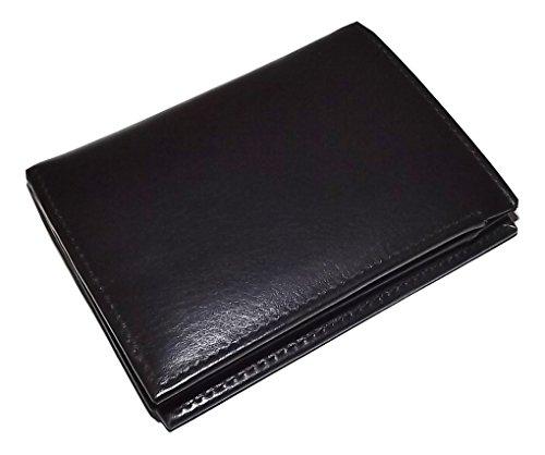 (Italia Leather Men's L Fold RFID Blocking Credit Card Wallet with ID Black)