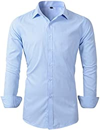 Mens Long Sleeve Slim Fit Dress Shirts