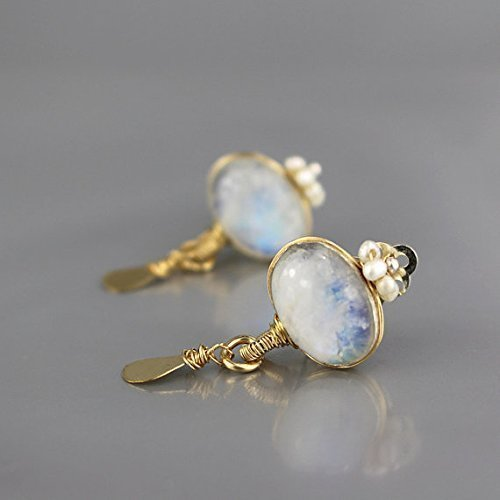Clip-On Crown Earrings with Genuine Rainbow Moonstone and Pearl Gemstones, Handcrafted No Pierce Dangle Earrings by Yifat Bareket
