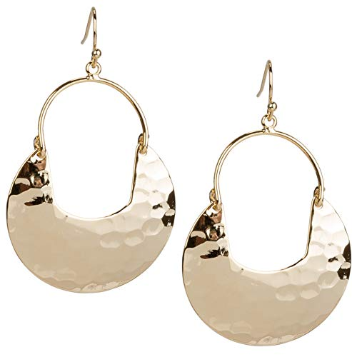 SPUNKYsoul Crescent Hammered Silver Earrings in Gold or Silver for Women (Gold) ()