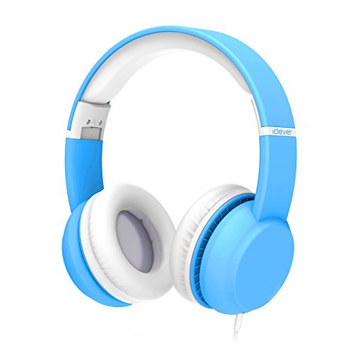 iClever Kids Headphones - Wired Headphones for Kids, Stereo Sound, Adjustable Metal Headband, Foldable & Portable, Untangled Wires, 94dB Volume Limiting - Childrens Headphones Over Ear, Blue by iClever