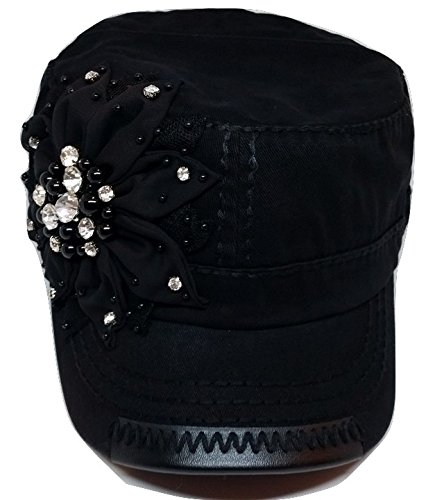 c63120f047e Olive   Pique Womens Bling Rhinestone Black Flower Military Cadet Hat (One  Size