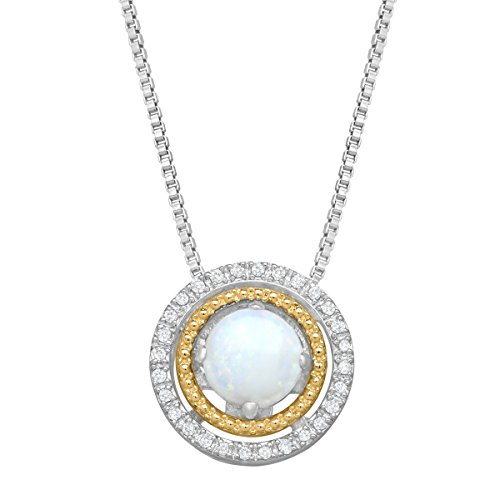 1/2 ct Opal Concentric Circle Pendant Necklace with Diamonds in Sterling Silver & 14K Yellow Gold (Circle Necklace Diamond Accent)