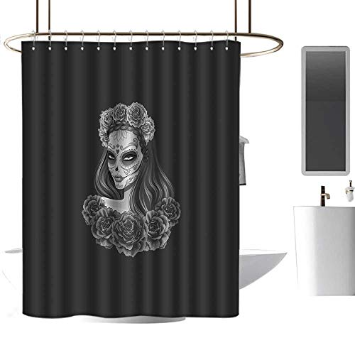 warmfamily Day of The Dead Shower Curtain Set Gothic Young Girl in Calavera Make Up Hairstyle with Roses Non Toxic, Eco-Friendly W48 x L72