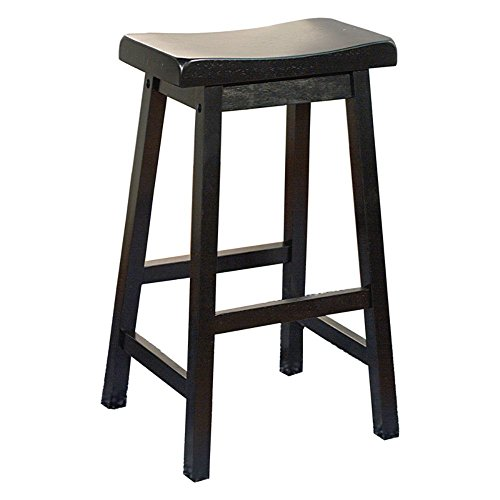 Target Marketing Systems 30-Inch Arizona Wooden Saddle Stool, Black (26 Inch Stationary Bar Stool)