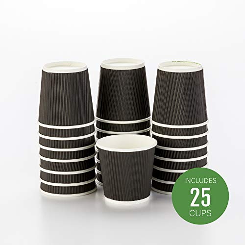 25-CT Disposable Black 4-OZ Hot Beverage Cups with Ripple Wall Design: No Need for Sleeves - Perfect for Cafes or Home Use - Eco-Friendly Recyclable Paper - Insulated - Wholesale Takeout Coffee Cup