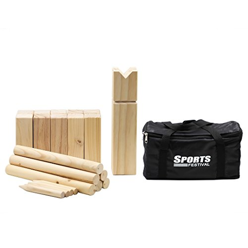 Sports Festival Wooden Kubb Game With Carrying Bag 6 Batons 1 King 10 Kubbs