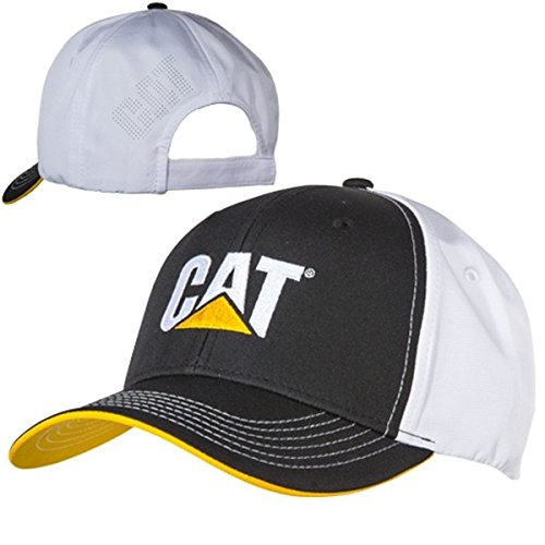Caterpillar CAT Equipment Black & White Microfiber w/Yellow Under Visor Hat/Cap