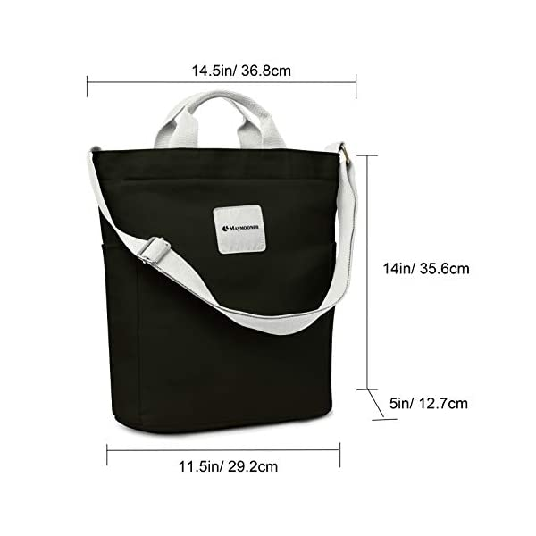Canvas Tote Bag with Zipper and Pocket, Casual Crossbody School Planner Hobo Bag for Women