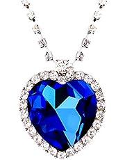 عقد دلاية على شكل قلب المحيط تيتانك بلون ازرق للحب للابد للنساء مع صندوق هدية قطيفة مناسبة لهدايا المجوهرات من هيسوكيت