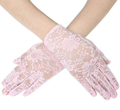 BABEYOND Floral Lace Gloves for Wedding Opera Party Lace Gloves 1920s Flapper Lace Gloves Stretchy Adult Size (Pink)]()