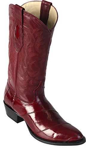 Men's Round Toe Burgundy Genuine Leather EEL Angulia Western Boots - Exotic Skin Boots