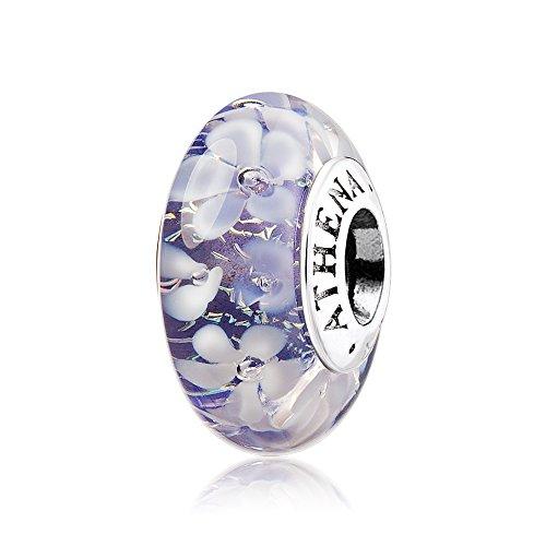 ATHENAIE Murano Glass 925 Silver Core Purple Flower Garden Bead Charms for Bracelet
