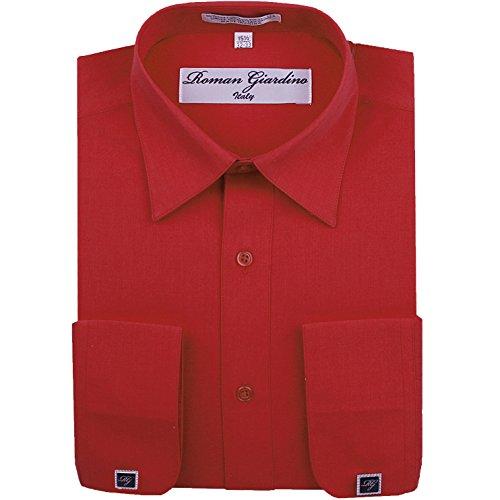 Roman Giardino Men's Dress Shirt True Red Long Convertible Sleeve Collar Machine Washable Free Cufflink 18.5 36/37 -