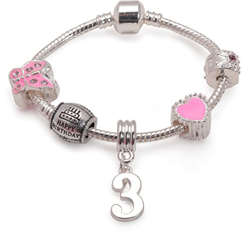 Liberty Charms Childrens Pink Happy 3rd Birthday Silver Plated Charm Bracelet. with Gift Box