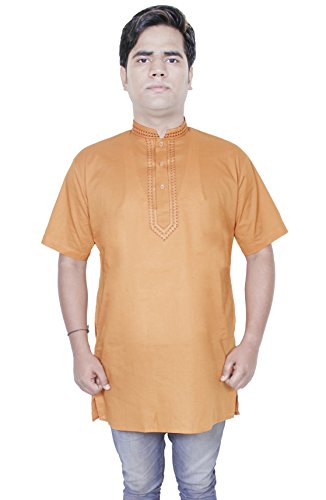 mens-cotton-shirt-long-kurta-indian-clothing-fashion-yoga-dress-l-chest-42-inches-darkbrown