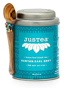 JusTea Kenyan Earl Grey | Loose Leaf Black Tea with Hand Carved Tea Spoon | 40+ Cups 90 Gram Tin | Organic | Fair Trade | Non-GMO