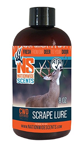 - Nationwide Scents Deer Attractant Scent Lure, Purest, Fresh UNFROZEN Natural Whitetail Deer Pheromones Scrape, 8 Ounce