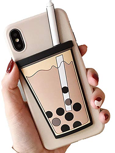 Three-Dimensional Pearl Milk Tea for Apple X Mobile Phone Shell for XS Max/XR/iPhone7/6s Anti-Fall Soft Cover,Pearl Milk Tea,for iPhone 6 6S - Dimensional Pearls