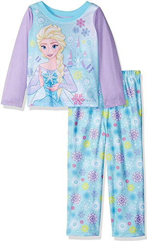 Disney Girls' Toddler Frozen 2-Piece Pajama Set, Elsa Purple, 2T (Frozen Pjs 5t)