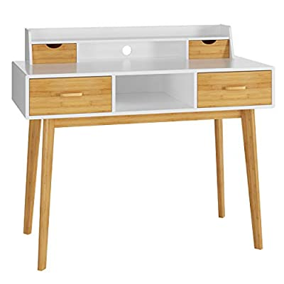 "HOMECHO Writing Computer Desk Modern Workstation Table Wood Compact Study Desk with 4 Drawer Storage and Shelves & Bamboo Legs for Home Office, 42.5'', White - 📔 UNIQUE DESIGN: This writing desk is made of bamboo and wooden board. With the natural bamboo and white-painted combination, the modern computer desk can take a fresh appeal to your office or bring a modern furniture style to your whole room. It is also a good choice for farmhouse or mid-century style. 📖 SPACIOUS STORAGE: Study table size: 42.5""(L) x 19.7""(W) x 36""(H). It has 4 drawers, 2 open space and 1 shelf. You can classify books, pens, files, cups and other accessories. A circled hole is in space to go through computer cables. 📃 STABILITY & DURABILITY: This heavy desk with drawer applies bamboo leg frame which ensures an excellent stability performance, and it makes no trembling during your writing. Natural bamboo is also healthy for your family and can be used in your house for a long time. - writing-desks, living-room-furniture, living-room - 41DFHe1owUL. SS400  -"