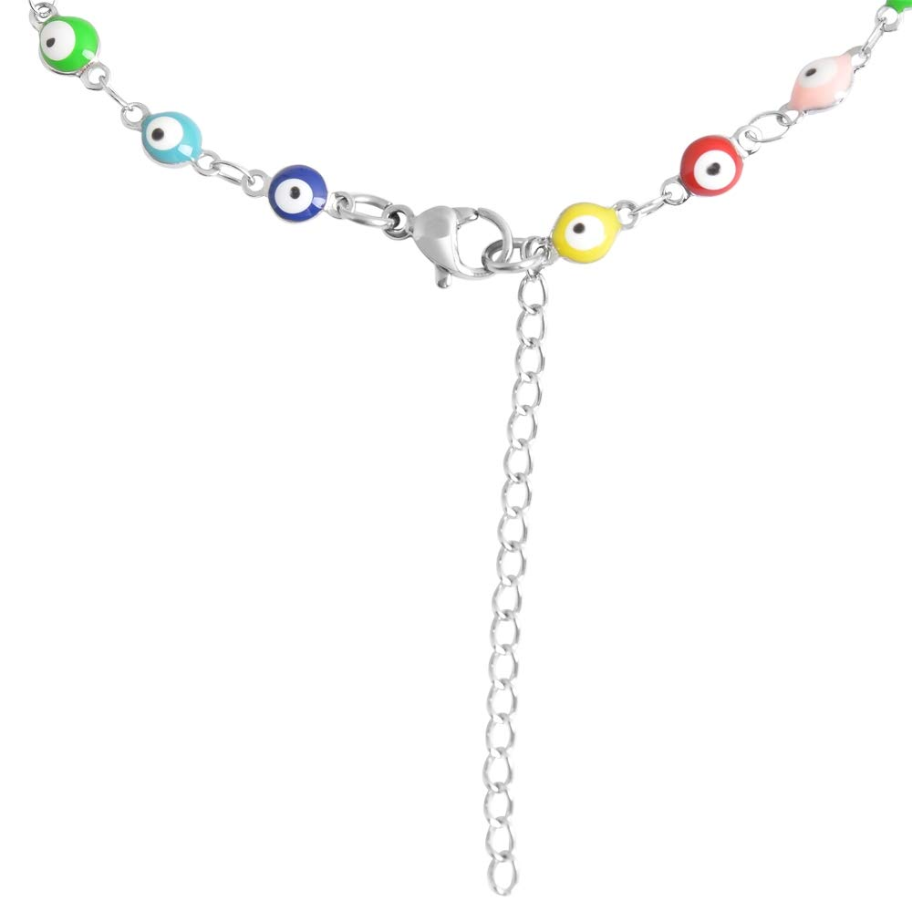 Edforce Stainless Steel Multi-Colored Evil Eye Pendant Anklet, 9''+2'' Extender by Edforce Stainless Steel (Image #3)