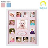 Collage Photo Frame for Baby First Year Keepsake - Multi Picture Frames with Twelve 1.8' and One 3.7' Slots for Baby Present Memory Home Decoration - Pink White Made of Prime Wood Panel and Glass