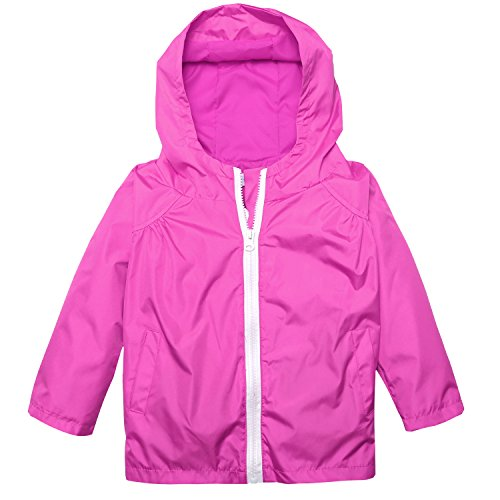 Arshiner Little Kid Waterproof Lightwight Jacket Outwear Raincoat With Hooded (90(Age For 2-3Y), Rose Red)