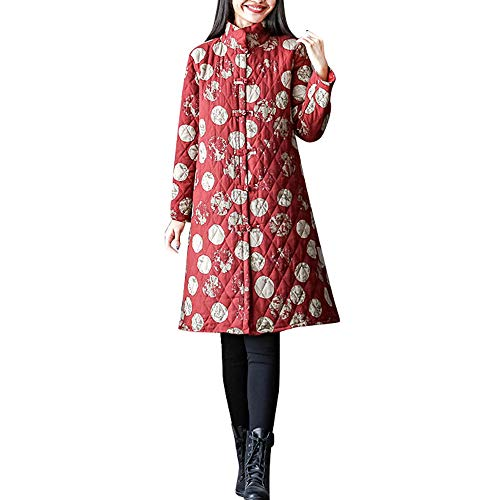 Women Winter Warm Floral Printing Jacket Ladies Cotton Linen Coat Long Overcoat