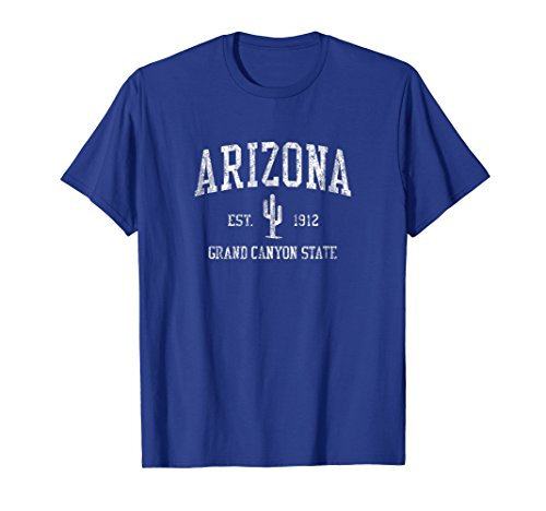 - Mens Arizona T-Shirt Vintage Saguaro Cactus Sports Design Tee Large Royal Blue