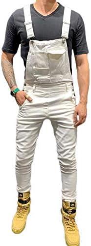 [해외]FUOE Mens Cotton Overalls Jumpsuit Casual Slim Suspenders Skinny Pants / FUOE Mens Cotton Overalls Jumpsuit Casual Slim Suspenders Skinny Pants (White(Denim), L)