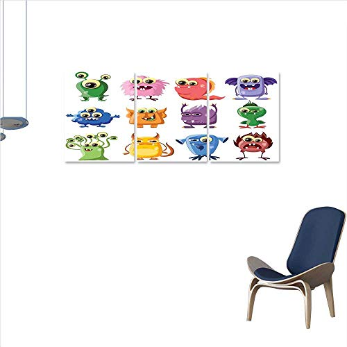 Funny everlands Art Flower Canvas Print Art Wall Deco Animated Bacteria Aliens Theme Germ Whimsical Cartoon Monsters Humor Faces Graphic Wall Sticker for Bedroom 24
