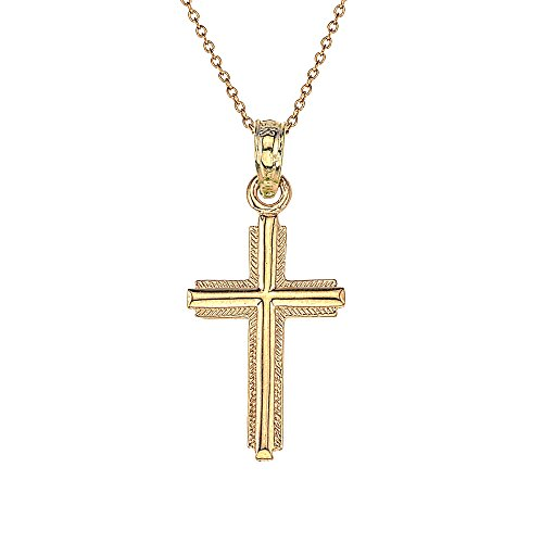 14k Gold Boys & Girls Dimensional Cross Necklace 16