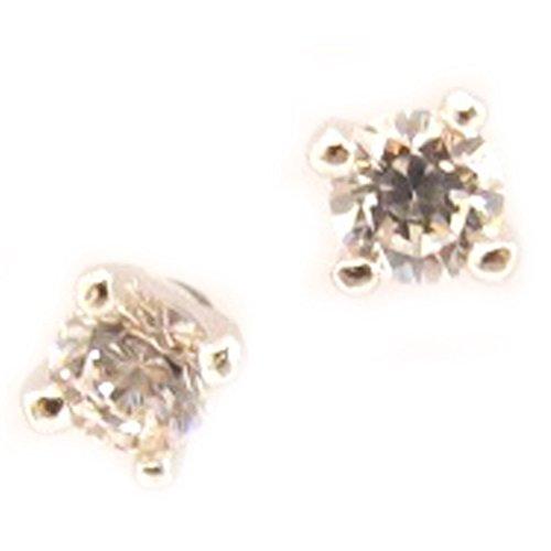 Boucles argent 'Essentiel' blanc 3 mm