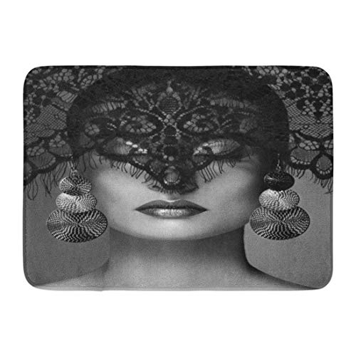 OUTDRART Bath Mat Luxury Woman with Celebrate Makeup Silver Earrings Black Dramatic Lace Veil Halloween Sexy Witch Look Bathroom Decor Rug 16