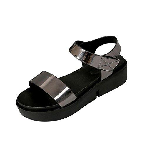 Lolittas Summer Glitter Sparkly Wedge Sandals for Women,Gladiator Embellished Open Toe Low Heel Platform Wide Fit Strappy Slingback Pantshoes Size 2-7 Silver