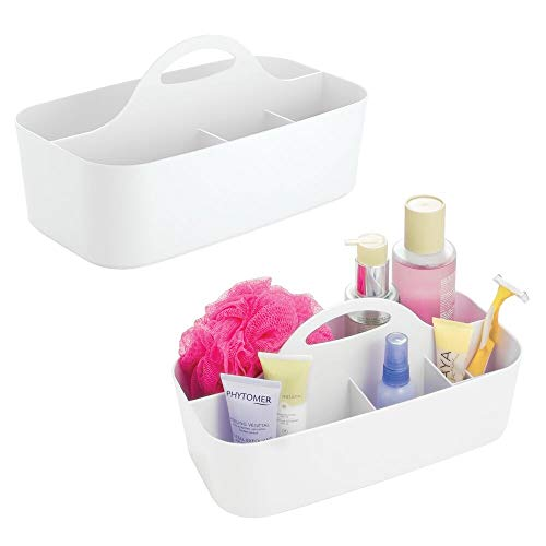 (mDesign Plastic Portable Storage Organizer Caddy Tote - Divided Basket Bin with Handle for Bathroom, Dorm Room - Holds Hand Soap, Body Wash, Shampoo, Conditioner, Lotion - Large, 2 Pack - White)