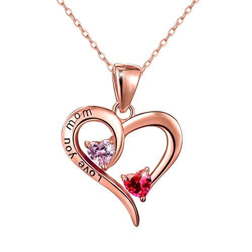 Esberry✦18K Gold Plated 925 Sterling Silver Necklace Pendant 5A Cubic Zirconia CZ Love Heart Shape Pendant with Necklaces for Women (18K Rose Gold)