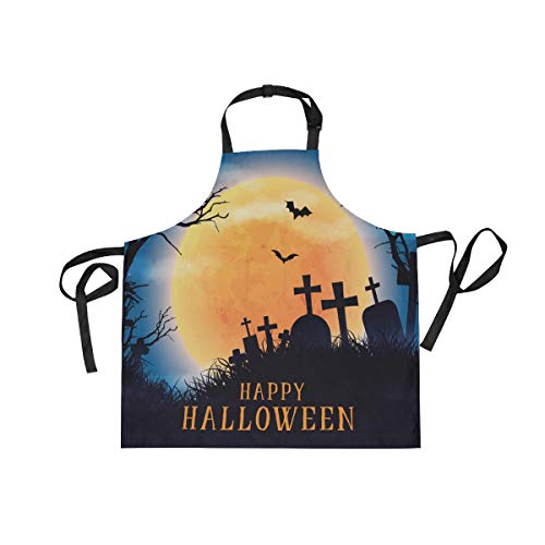 DOPKEEP Creepy Halloween Realistic Bib Apron Adjustable Size Kitchen Apron with Pockets and Extra Long Ties for Women and Men Home Chefs Cooking Gardening BBQ -