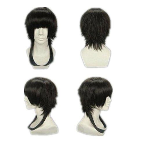 Prettymart Cosplay Wig Starry Sky Kinose Azusa Kurz Schwarz Fasching Karneval Hair (Fasching Costume)