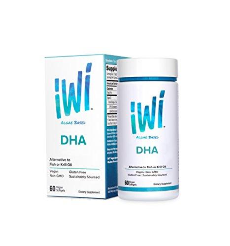 iWi® Omega-3 DHA Powered by Algae, 1250 Mg of Pure Marine Algae Oil, 500 mg of DHA, 100% Vegetarian, Non-GMO, Gluten-Free, 60 (1250 Omega 3)