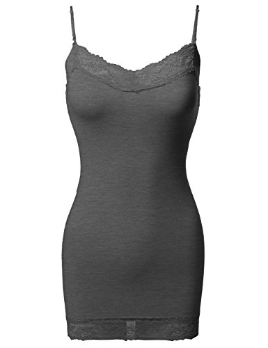 Awesome21 Solid Soft Stretch Spaghetti Strap Lace Trim Tank Top Charcoal M