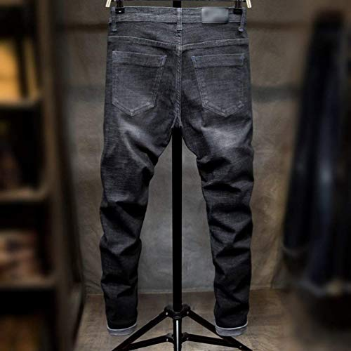 Piquet Slim Ricamo Da Gamba Casual Lichtblack Jeans Uomo Stretch Pantaloni Punk Vintage Abbigliamento Denim Adelina Dritta WwqTBHYnP