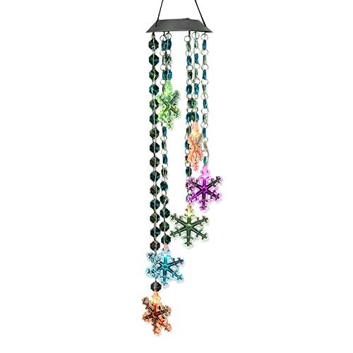 AceList Changing Color Snowflake+Bead Wind Chime, Spiral Spinner Windchime Portable Outdoor Decorative Romantic Windbell Light for Patio, Deck, Yard, Garden, Home, (Christmas Wind Chimes)